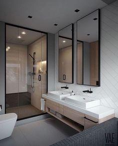 Elegant and Simple Bathroom Storage Ideas in The Next 2019 Innovative bathroom storage ideas for DIY bathroom storage ideas # laundryhomeıdeas the Small Space Bathroom, Simple Bathroom, Modern Bathroom Design, Bathroom Interior Design, Small Spaces, Bathroom Ideas, Shower Bathroom, Bathroom Grey, Modern Design