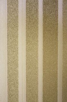 Lexington Wallpaper A smart and luxurious metallic stripe wallpaper with scatter beads in shades of gold on cream.