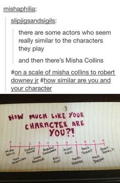 On a scale of Misha Collins to Robert Downey Jr, how much like your character are you? :)