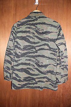 Military Tiger Stripe Camouflage Jacket Shirt Vietnam Era Size X  Small