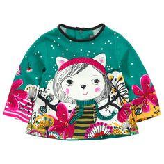 #Catimini - Tee-shirt en jersey #vert émeraude imprimé fantaisie #Bébé #Fille