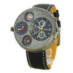 New Mens Dual Time Compass Calendar Quartz Watch