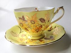 Gorgeous Yellow Queen Anne Tea Cup and Saucer by AprilsLuxuries