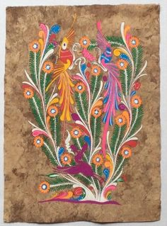 """Vintage Mexican Bark Painting - signed by """"AG""""Measures approximately: long x wideBright vivid colorsTwo birds and one deerClean and from a smoke free home from Native Art, Native American Art, Art Articles, Art Deco Posters, Mexican Designs, Mexican Folk Art, Art Lesson Plans, Whimsical Art, Elementary Art"""