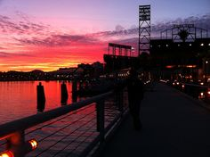 I always love seeing new and unique ways in which our beloved ballpark is photographed.  This gorgeous sunset with AT& T Park in silhouette is just fabulous!  (Photo by marythom, December 2010).