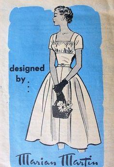 1950s Marian Martin Pattern 9118 Lovely Gathered Bodice Midriff Dress Full Skirt Square Neckline Very Flattering Style