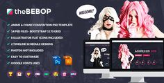 The Bebop Anime and Comic Convention PSD Template . The has features such as High Resolution: No, Layered: Yes, Minimum Adobe CS Version: CS6, Pixel Dimensions: 1500x10354