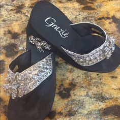Sandals Silver with rhinestones Grazies Shoes Sandals
