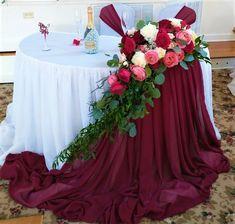 Head Table Wedding, Bridal Table, Wedding Stage, Burgundy Wedding, Floral Wedding, Wedding Colors, Rustic Wedding, Wedding Ceremony Decorations, Wedding Table Centerpieces