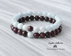 8mm Couples bracelets Genuine Garnet & Aquamarine beaded bracelets Gifts for boyfriend Healing Bracelet Her and his bracelet Gifts for him Mens gift Gemstone bracelet Gift ideas for men Please yourself :) → The jewelry I make with inspiration and lots of love ♥ you can be sure that