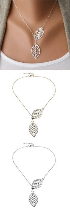 Necklaces large pendants vintage gold silver big leaf pendant clavicle chain necklace for women #jewelry #pendants #silver #necklace #pendants #to #make #pendants #and #necklaces