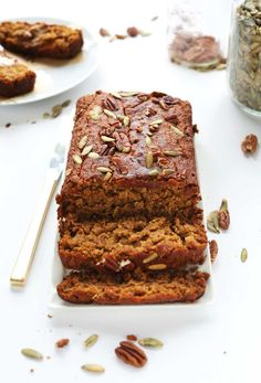 Tender, spiced pumpkin bread made in 1 bowl with simple ingredients. Vegan, gluten free and perfect for fall!