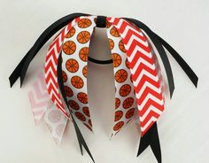 Red and black basketball hair streamers, team bows, chevron ponytail holder ribbon, red basketball ribbon hair tie, school team sports, ball - pinned by pin4etsy.com