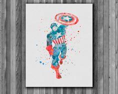 Superhero Captain America Poster -  watercolor, Art Print, instant download,  Watercolor Print, poster