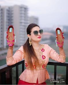 15 Quirky Bridal Footwear Options for the Bridechillas Out There! Stylish Dress Designs, Stylish Dresses, Traditional Blouse Designs, Bridal Dupatta, Embroidery Suits Design, Bridal Heels, Beautiful Suit, Bridal Photoshoot, Kurti Designs Party Wear