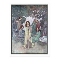 Shop The Fairy of the Garden by Edmund Dulac Postcard created by vintage_illustration. Chinese Painting, Chinese Art, Edmund Dulac, Japanese Calligraphy, Linocut Prints, Postcard Size, Woodblock Print, Botanical Illustration, Vintage Postcards