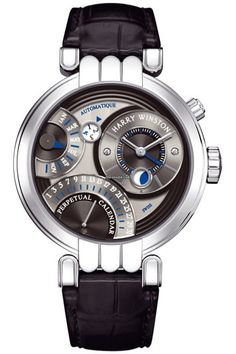 Harry Winston Premier Excenter Perpetual Calendar 2010 This extraordinary #HarryWinston #watch features Solid 18kt white gold case with a high polished finish. Sub-dials are blackened silver & finished with a fine concentric circular pattern guilloche texture. #chronograph #watches $ 38,000