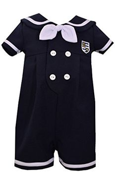 Short sleeve navy nautical boys short all with gold trimmed buttons and sailor collar. Bonnie jean dress, maker of Bonnie Baby products, has made fashionable, high quality, affordable and age appropriate dresses and playwear sets Sailor Collar, Bonnie Jean, Boy Shorts, Baby Gear, Baby Boy Outfits, Baby Boys, Rompers, Image Link, Baby Products