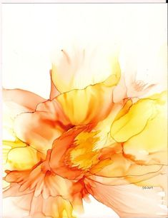 Alcohol ink painting Original abstract flower in yellow , 5X7 matted | eBay