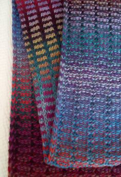 Ravelry: ridelikethewind's Colorplay. Tension 6.5. 1 x 3 two row tuck, two rows knit. Two contrasting colors of self striping yarn. Two stitches slipped on each edge. The slipped stitch edge carries the contrast color along the edges. Two carriages make the color changes quick. Brother KX-350 Mid Gauge Knitting Machine