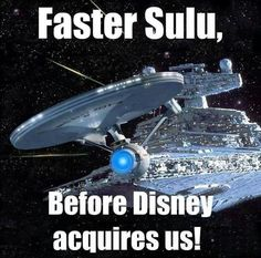 They bought Star Wars.Could Star Trek be next? I think they might as well have. The last to movies were Star Wars Trek. Star Trek Tv, Star Trek Ships, Funny Star Trek, Star Trek Humor, Walt Disney Company, Science Fiction, Star Wars Personajes, Starship Enterprise, Love Stars
