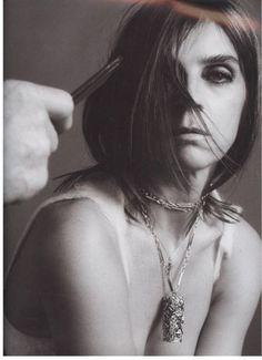 Carine Roitfeld in her Compression by César pendant. Photograph by Inez van Lamsweerde et Vinoodh Matadin, Purple Fashion No. 5 magazine