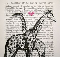 Cute for nursery decor ~~ Giraffe Love print on salvaged vintage book page; by CrowBiz on Etsy