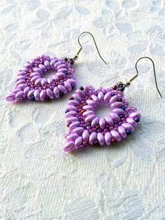 Lilac beaded dangle earrings, Lilac mauve beadwork drop earrings, ethnic earrings, boho earrings, twin bead earrings by OdesiaMayJewellery on Etsy