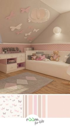 Deko-Tipp Kinderzimmer Wände mit Schmetterlingen selbst gestalten, Viven algo mejor que n't antes ymca después para buscar inspiracióin a l. Cute Bedroom Ideas, Girl Bedroom Designs, Girls Bedroom, Baby Room Decor, Nursery Room, Bedroom Decor, Kids Room Wallpaper, Kids Room Design, Design Girl