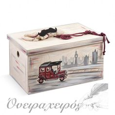 """Vintage ΑΥΤΟΚΙΝΗΤΟ"" σετ βάπτισης με Ξύλινο μπαούλο ζωγραφισμένο στο χέρι Toy Chest, Storage Chest, Decorative Boxes, Toys, Baby, Vintage, Home Decor, Activity Toys, Decoration Home"
