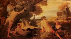 LANDSCAPE WITH NYMPHS AND SATYRS. oil on canvas. 102,5 × 133,3 cm. Provenance : probably acquired by the Liverpool Royal Institution in 1842. Bibliografia : Blunt R119; Thuilllier R125. Exhibited : 1977, Rome, n. 5.