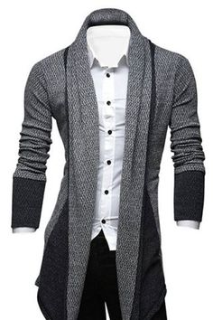 Turn-Down Collar Color Block Splicing Long Sleeve Lengthen Men's Cardigan