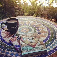#augustbreak2014 Day ten: Drink. Morning coffee on my Secret Garden patio with World's Most Precious Pooch playing peekaboo.