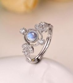 chic art deco blue moonstone promise ring in sterling silver