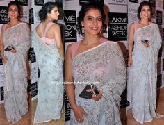 In a Shehlaa by Shehla Khan sari, Kajol attended the designer's showing at LFW.
