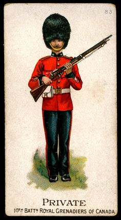 """Gallaher's Cigarettes """"Types of the British Army"""" (issued in Private, Royal Grenadiers of Canada Soldier Silhouette, Military Cards, Steampunk Artwork, British Army Uniform, Canadian Army, Age Of Empires, Army & Navy, England, Military History"""