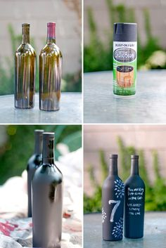 DIY - Chalkboard Painted Wine Bottles.  I know this is more casualy than your wedding but it made me think of your french weddingfest.  I think they would make cute centerpieces at a less formal reception.