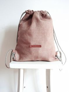 Madder Root Dyed Pure Linen Drawstring Backpack by WhiteChairShop