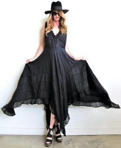 Total boho babe hanky hem dress with incredible details!  The type of dress you put on and want to twirl in