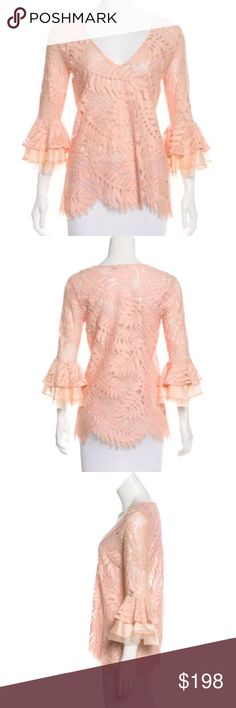 "Alexis pink peach bell sleeve lace crochet top XS In excellent/like new condition.  No trades.  perfect for spring and summer, very flattering color.  Fabric: 65.6% Cotton, 21.7% Nylon, 12.7% Rayon; Combo 1 60% Cotton, 40% Silk; Combo 2 100% Silk  Bust: 36"" Length: 26"" Alexis Tops Blouses"