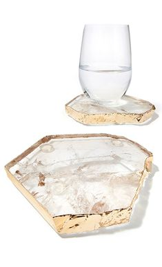 gold + crystal rock coasters