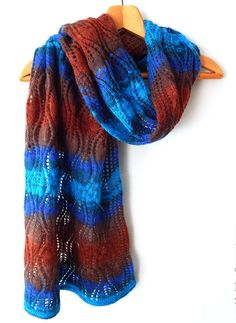 Knitted angora wrap, angora lace wide scarf, blue brown red color, woman knitted scarf, angora scarf, knitted mohair woman scarf by SanniKnitting on Etsy