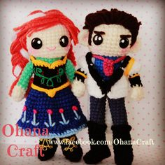 Crochet Frozen dolls and patterns --- Princess Anna and Prince Hans https://www.facebook.com/OhanaCraft