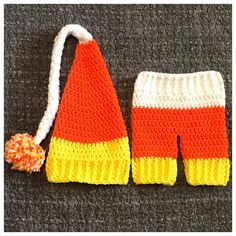 Crochet Candy Corn inspired Newborn Baby Elf Hat/Sleepy Cap & Pants. This sweet set is Size newborn. It should fit a baby up to 10lbs. This set includes: A hat & a pair of matching pants. The outfit is yellow, orange & white. The hat has a pom sewn onto the end of it. Perfect little outfit for a Halloween baby, little babes newborn pictures or as a baby shower gift. This set along with everything else in my shop is ready to ship. If you have any questions, please do not ...