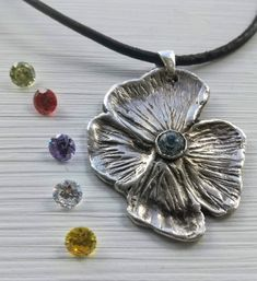 Sterling silver pendant, Flower pendant, Metal clay pendant, Crystal necklace, Handmade pendant, Silver flower,  Anniversary pendant Handmade Polymer Clay, Polymer Clay Jewelry, Sterling Silver Flowers, Sterling Silver Pendants, Topaz Color, Precious Metal Clay, Flower Pendant, Leather Necklace, Crystal Necklace