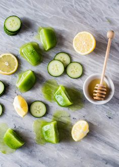 Cucumber-  Honey Cleanser. For a glowing skin cleanser, try a frozen facial scrub. Cucumbers are naturally cooling while they gentle clean and moisturize the skin