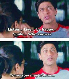 Kal ho na ho - One of the first Bollywood films I saw. Kal Ho Na Ho, Shahrukh Khan And Kajol, Kuch Kuch Hota Hai, Movie Dialogues, Bollywood Quotes, Sr K, Movie Lines, Indian Movies, Bollywood Stars