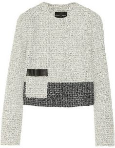 Proenza Schouler Color-block tweed jacket on shopstyle.com | Off-white and black tweed Leather-trimmed patch pocket, raised front seams, fully lined Concealed snap fastenings through front