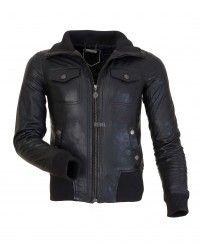 Designer Black Navy Bomber Leather Jacket - RAVENNA