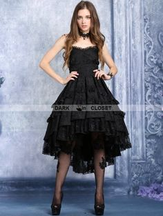 Dark in Love Black Gothic Noble Dovetail Dress